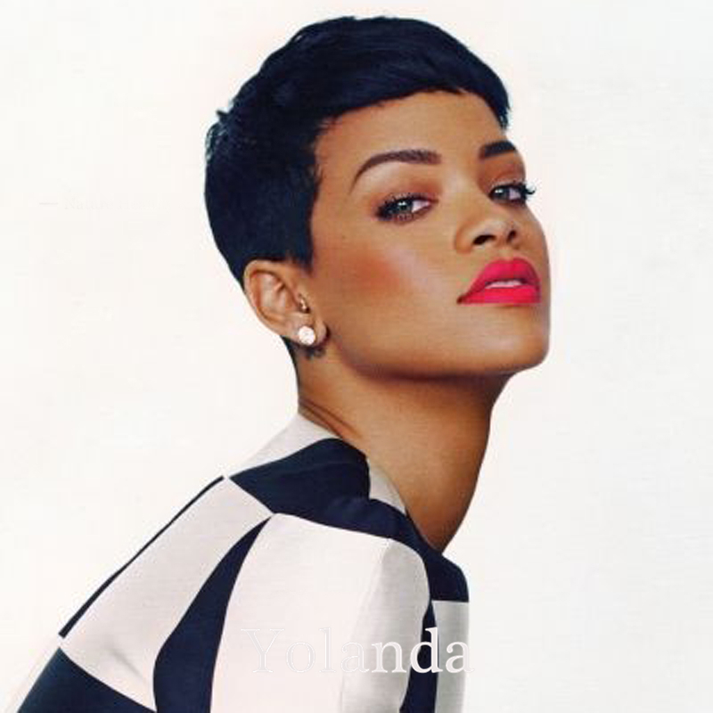 2017 New Human Short Pixie Cut Wig Rihanna Black Short Cut