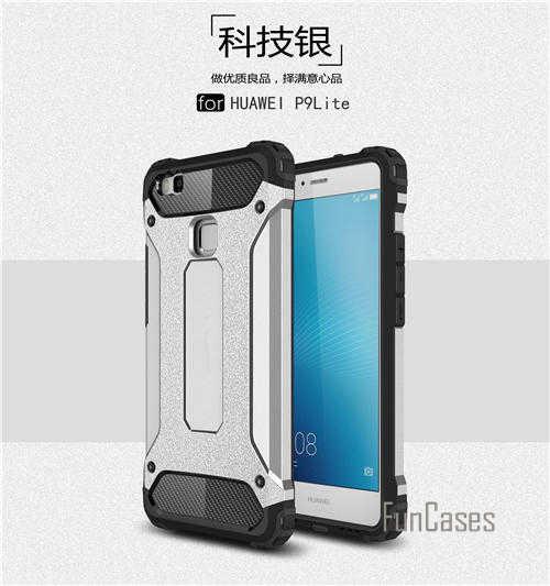 """Slim Armatura Anti-Shock per il Caso di Huawei P9 Lite Custodia In Silicone di Gomma Robusta Hybrid Dura del PC per il Caso di Huawei p9 Lite Caso Della Copertura 5.2"""""""