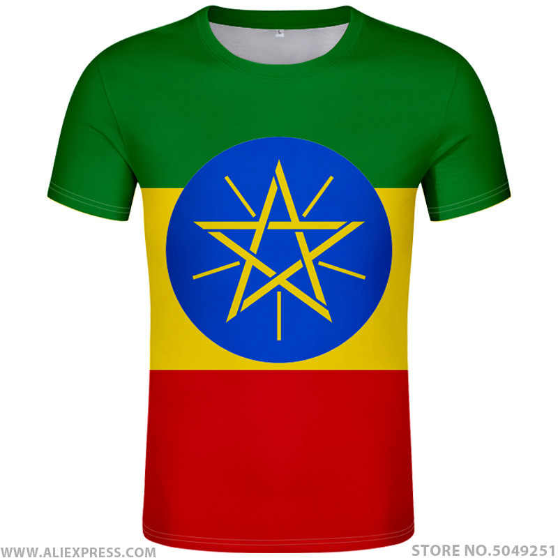 ETHIOPIA t shirt diy free custom made name number eth t-shirt nation flag et logo ethiopian amharic college print photo clothing