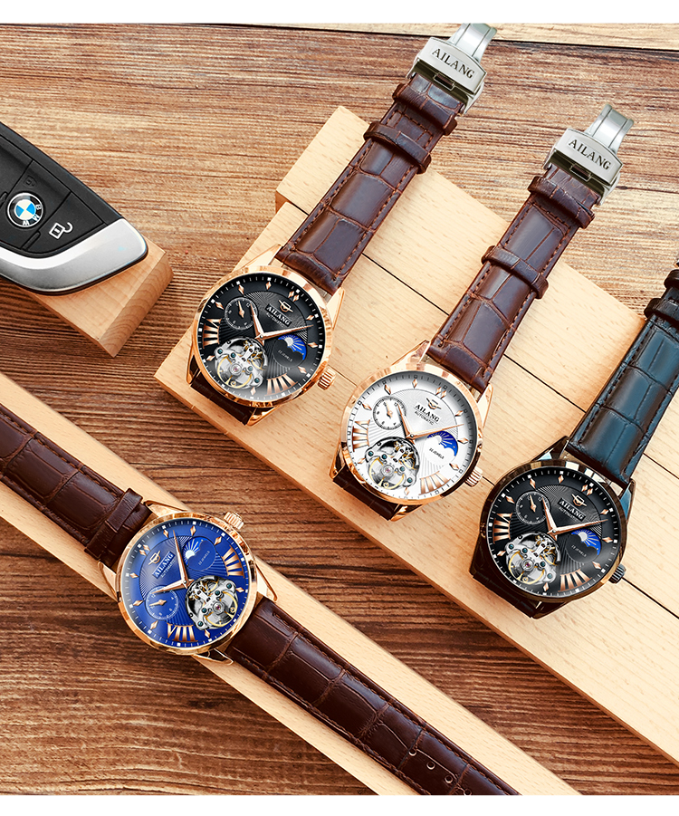 HTB1SkhHd8Kw3KVjSZFOq6yrDVXa5 AILANG Quality Tourbillon Men's Watch Men Moon Phase Automatic Swiss Diesel Watches Mechanical Transparent Steampunk Clock