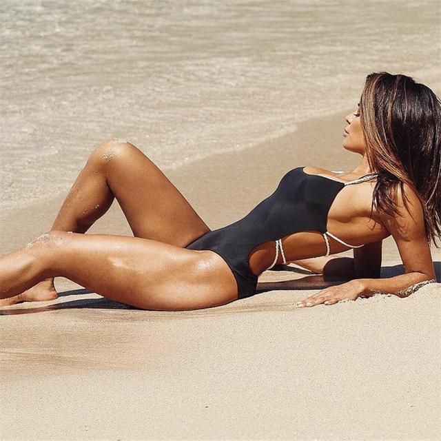 Ariel Sarah 2018 Bandage One Piece Swimsuit Solid Women Swimwear Halter Bathing Suit Women Maillot De Bain Sexy Beachwear Q355