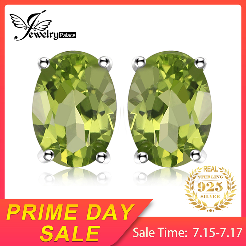 JewelryPalace Oval 1.8ct Natural Green Peridot Birthstone Stud Earrings Genuine 925 Sterling Silver Jewelry Not Include A Chain(China)