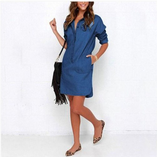 Summer 2019 Denim Dresses New Vintage Irregular Shirt Mini Dress Fashion Lady Long Sleeve Jeans Party Dresses Women Casual Wear