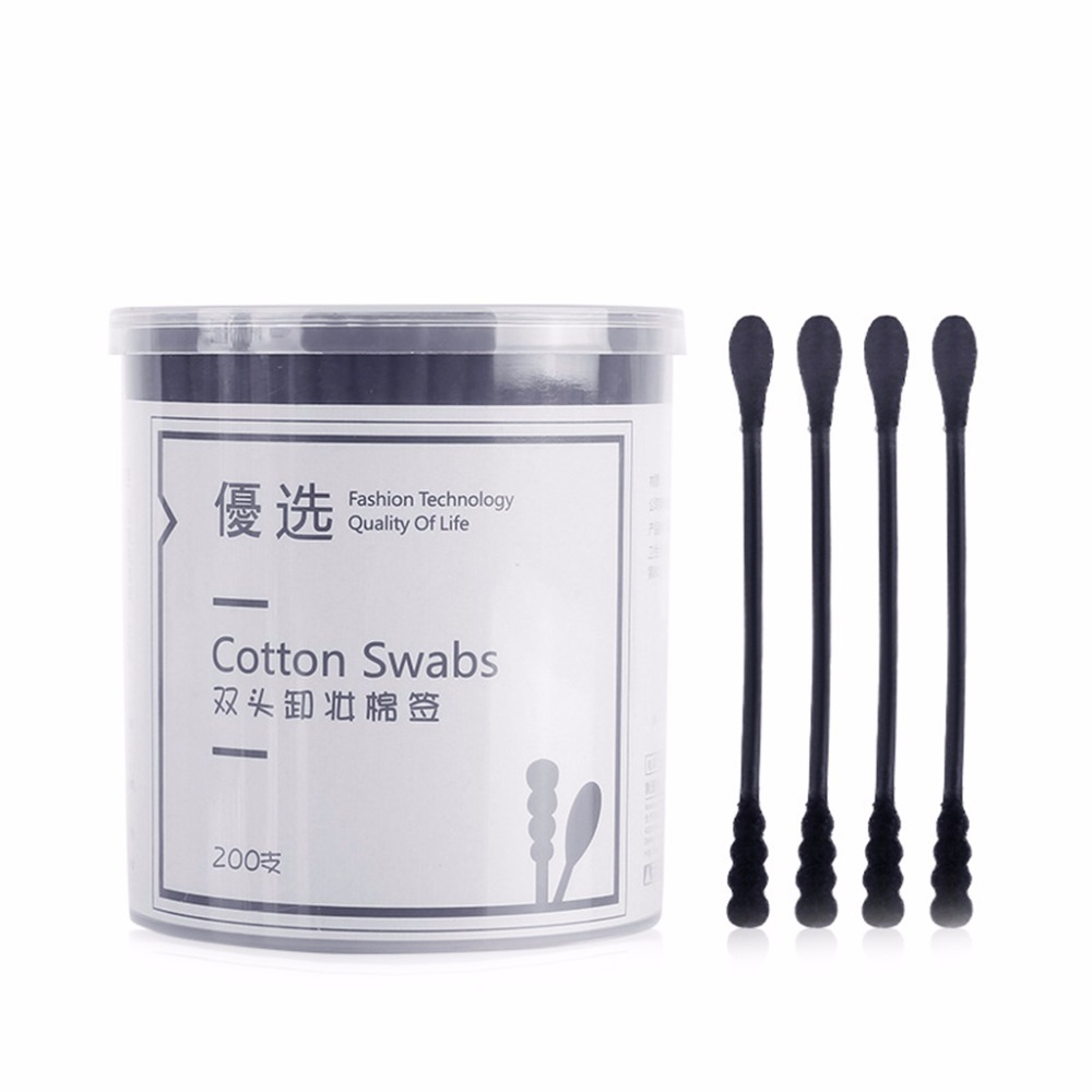 200Pcs Cotton Swabs Paper Handle Double Head Swab Ear Cleaning Health Cotton Tipped Applicator Stick Multi-functional Tool Black