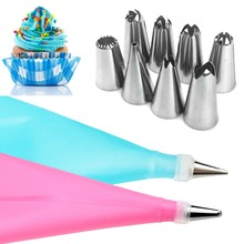 TTLIFE 10pcs/set Dessert Decorators Silicone Icing Piping Cream Pastry Bag+8 Stainless Steel Nozzle Set DIY Cake Decorating Tips