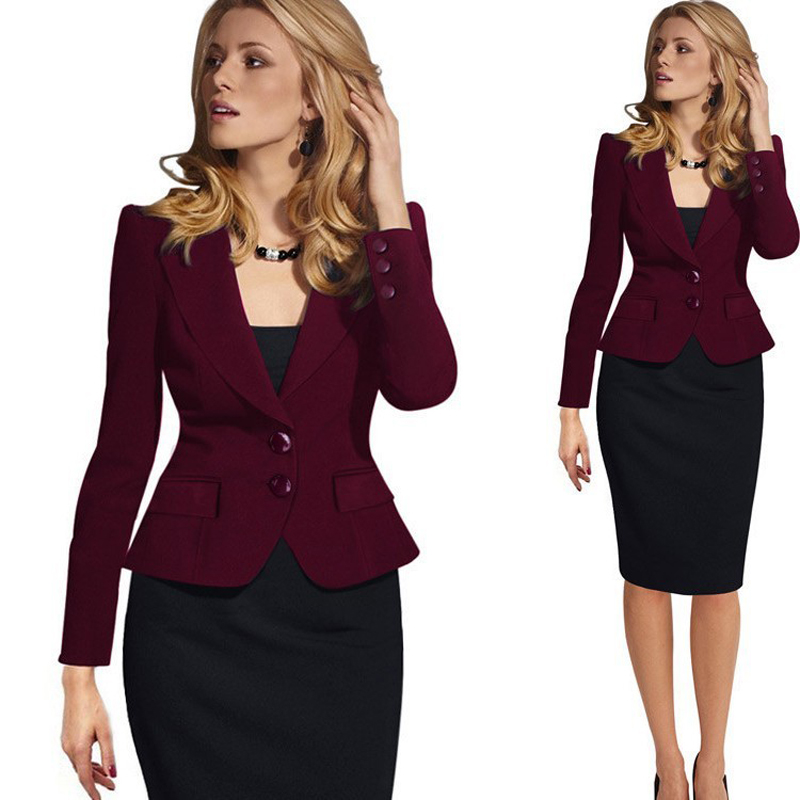 2 Buttons Ladies Blazer Woman Work Wear Suit Jacket Female Office Lady Formal Women Blazers and Jackets Female Blazer Femme