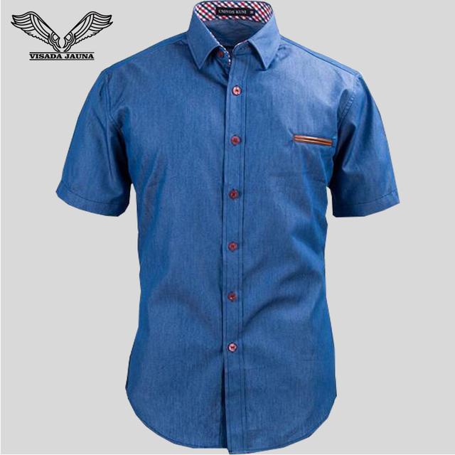 Camisa de los hombres 2017 Tamaño de Europa Nuevo reloj de Moda Casual de Manga Corta Delgado de Bolsillo de Cuero Sólido Camisas de Mezclilla de Algodón Masculina N567