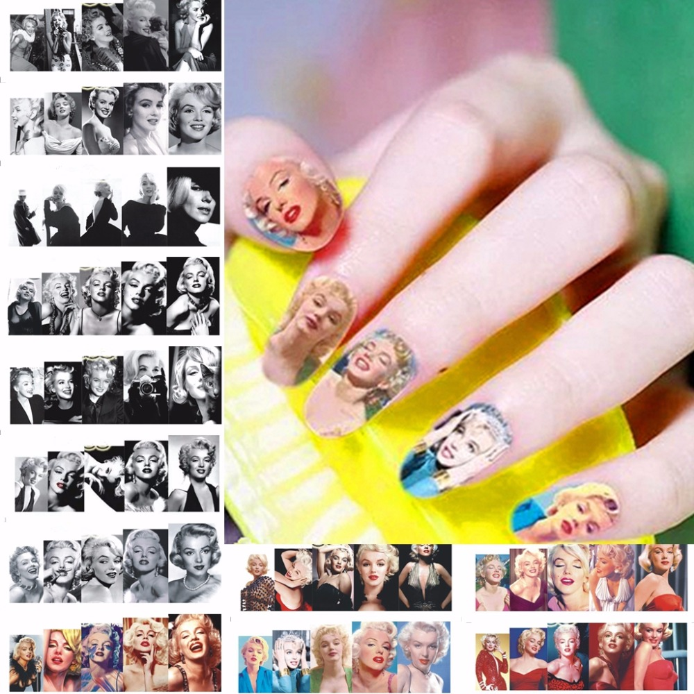 12 sheets Marilyn Monroe design Nail Art Full cover Water Transfer ...