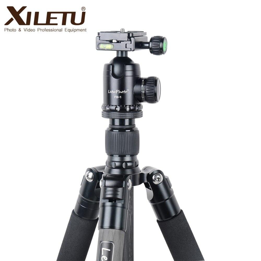 Xiletu L-284C + FB-1 Pro Stable Trépied En Fiber De Carbone et Rotule Amovible Mnonpod Pour DSLR Appareil Photo Numérique Canon Nikon Sony