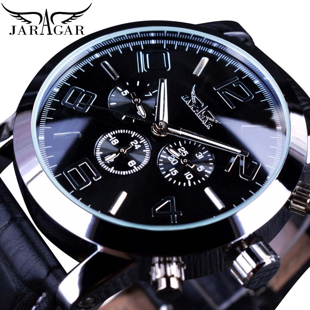 Jaragar Original Brand Mens Watches Automatic Watch Self-Wind Date 3 Dials Fashion Men Mechanical Wristwatch Leather Strap Clock