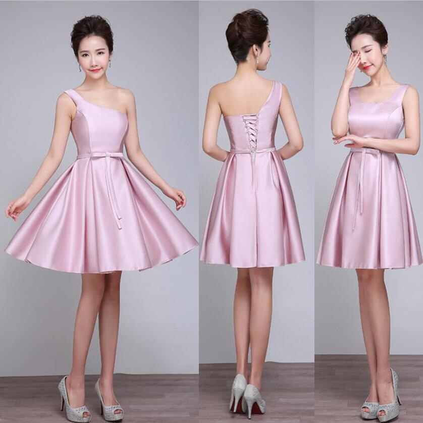 Bridesmaid Dresses Short 2017 Nude Pink Wedding Events Formal Dress