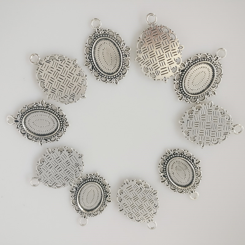 18x13mm Flower Antique silver Plated Necklace Blanks bezel