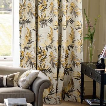 Custom curtain high-grade Saipan rainforest rural Americancotton jacquard Cotton and linen living room bedroom curtain M033