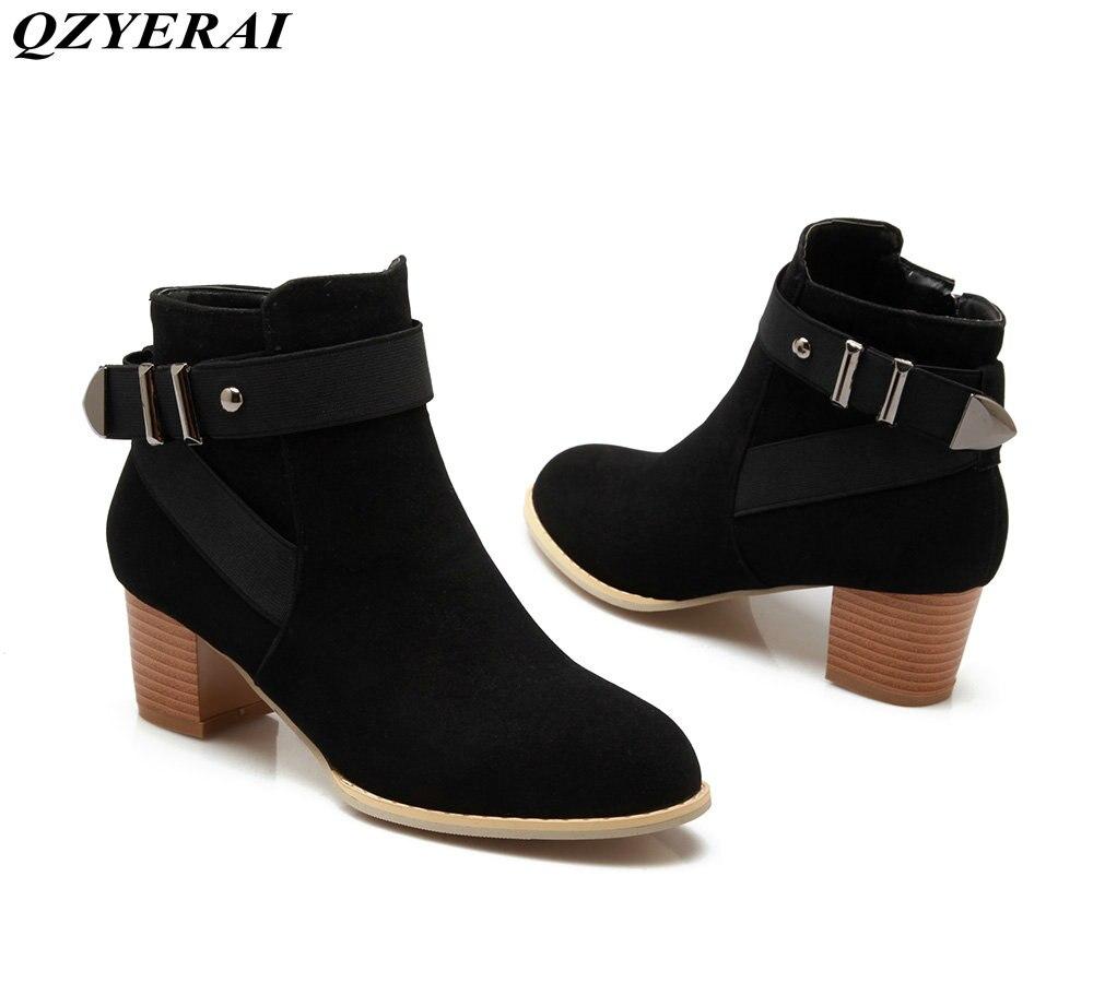 QZYERAI New arrival hot selling winter rough heel spiky fashion Martin boots font b womens b