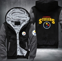 Dropshipping USA Plus EU Size Steelers Team Men's Women's Printing Pattern Thicken Fleece Zipper Hoodies Sweatshirts Coat Jacket