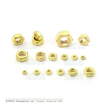 Hot 50pcs DIN934 Brass hex nut M1 M1.2 M1.4 M1.6 M2 M2.5 M3 M4 M5 M6 brass nuts bright cleaned