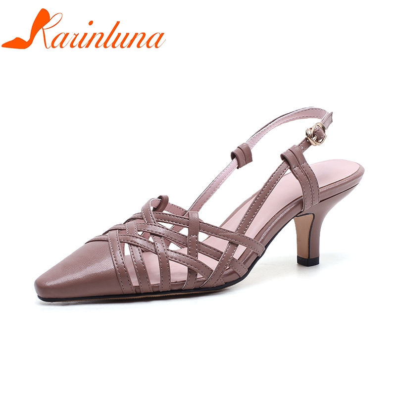 KARINLUNA 2018 Summer Sexy Overall Genuine Leather Women Sandals Fashion Brand Breathable Pointed Toe Shose Woman High Heels