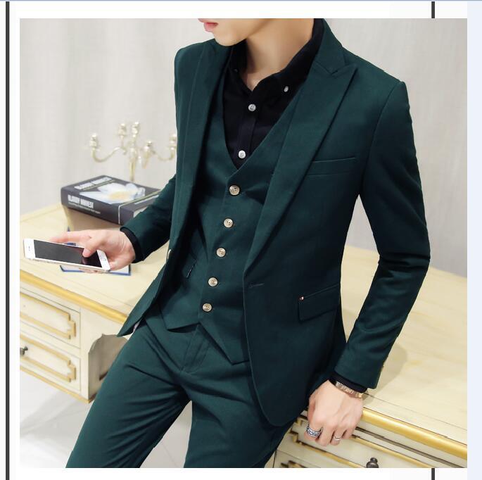 2017 Latest Coat Pant Designs Dark Green Men Suit Groom Tuxedo Slim Fit Skinny 3 Piece Suits Custom Prom Blazer Terno Masuclino