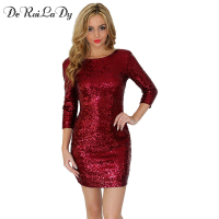 DeRuiLaDy 2018 Sexy Women Sequin Dress O Neck 3 4 Sleeve Paillette Bodycon Dress Casual Black