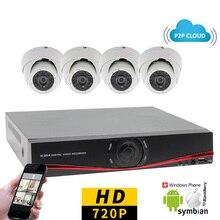 4CH CCTV System 720P AHD DVR 4PCS 1MP IR Cameras Indoor Dome Video Surveillance Security Camera System 4 Channel DVR Kit