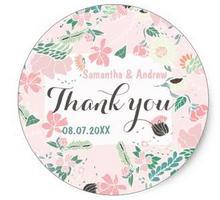1.5 дюйма Пастель handdrawn цветочный розовые свадебные спасибо Классический круглый Стикеры