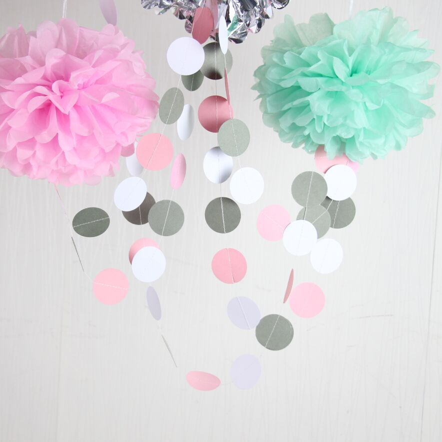 pink and gray garland bridal shower garland baby shower decorations