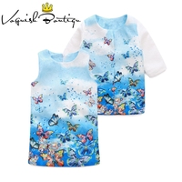 European style girls dress with coat 3 8year butterfly printed dress with coat fashion kids clothing set 2pcs/set