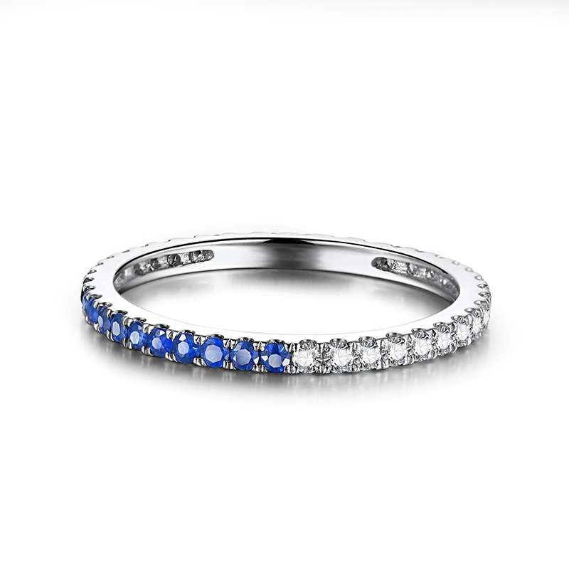 Solid 18k White Gold(AU750)Engagement Wedding Ring 0.41ct Natural Diamonds Sapphires Party Anniversary Band Elegant Ring