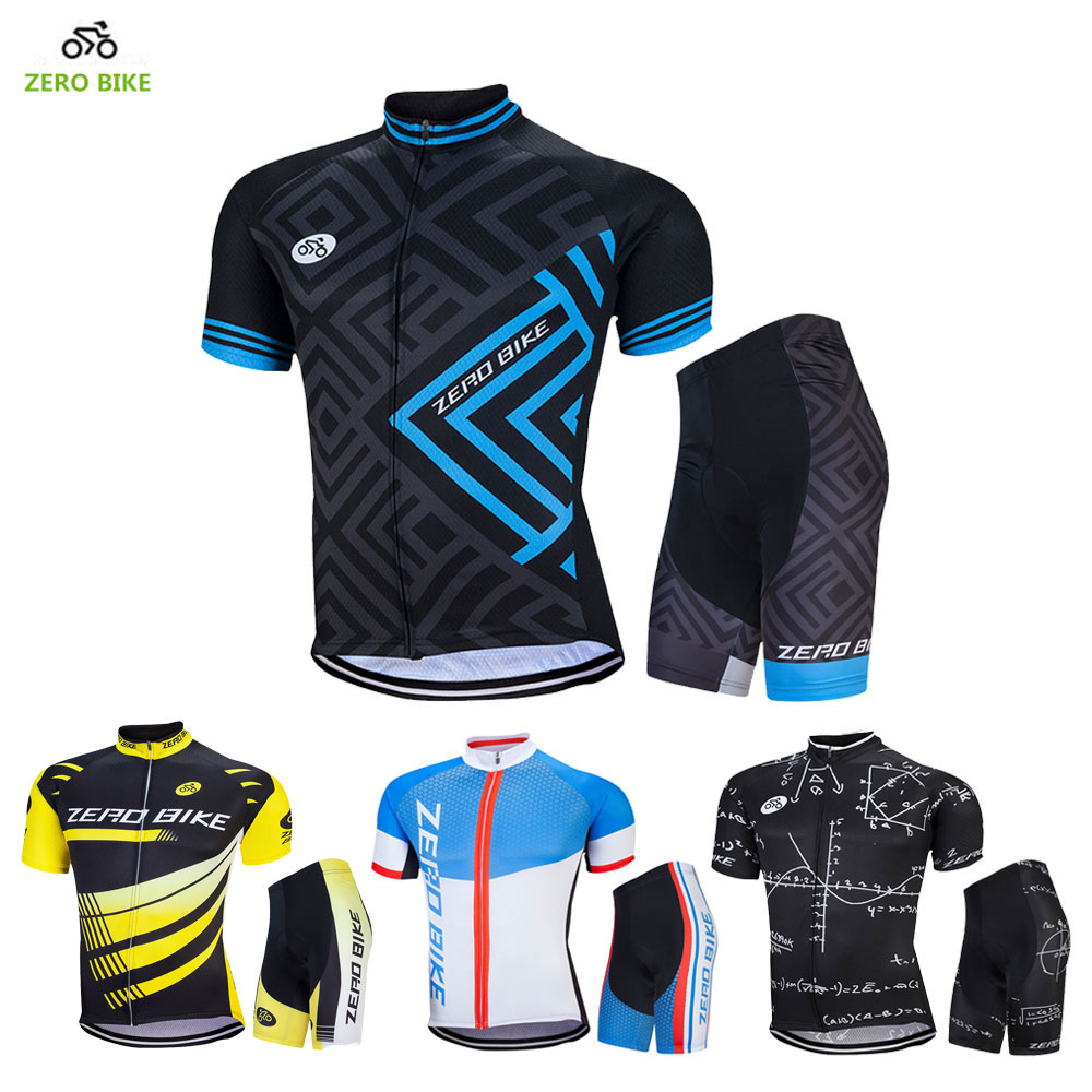 ZEROBIKE 2017 Summer Men's Outdoor Cycling Clothing Set Short Sleeve Jerseys 4D Gel Padded Bicycle Tight Shorts Ciclismo M-XXL