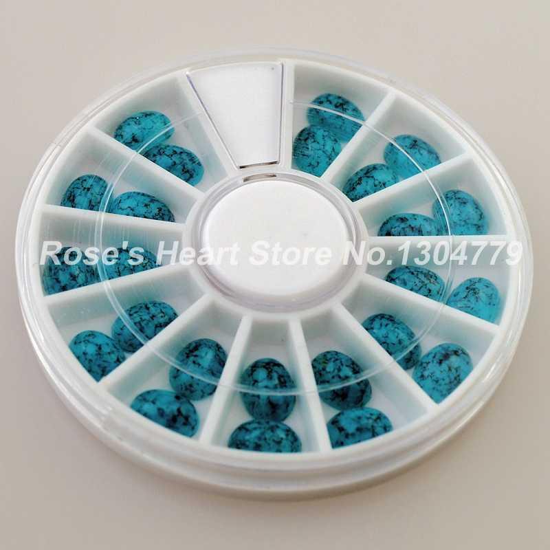 2018 NOVA 6 rodas oval turquesa pedrinhas roda decoração de unhas acessórios da arte do prego 3d beleza gems prego fornece ferramentas
