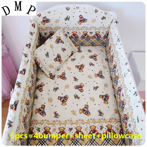 Promotion! 6PCS Bear Baby Bedding Set 100% Cotton Embroidery Baby Bed (bumpers+sheet+pillow cover) promotion 6pcs 100