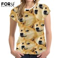 FORUDESIGNS Women Japanese Akita Street Style Exaggerated Printed Slim T shirt Teenager Girls Tops Tee Animal Harajuku Clothing
