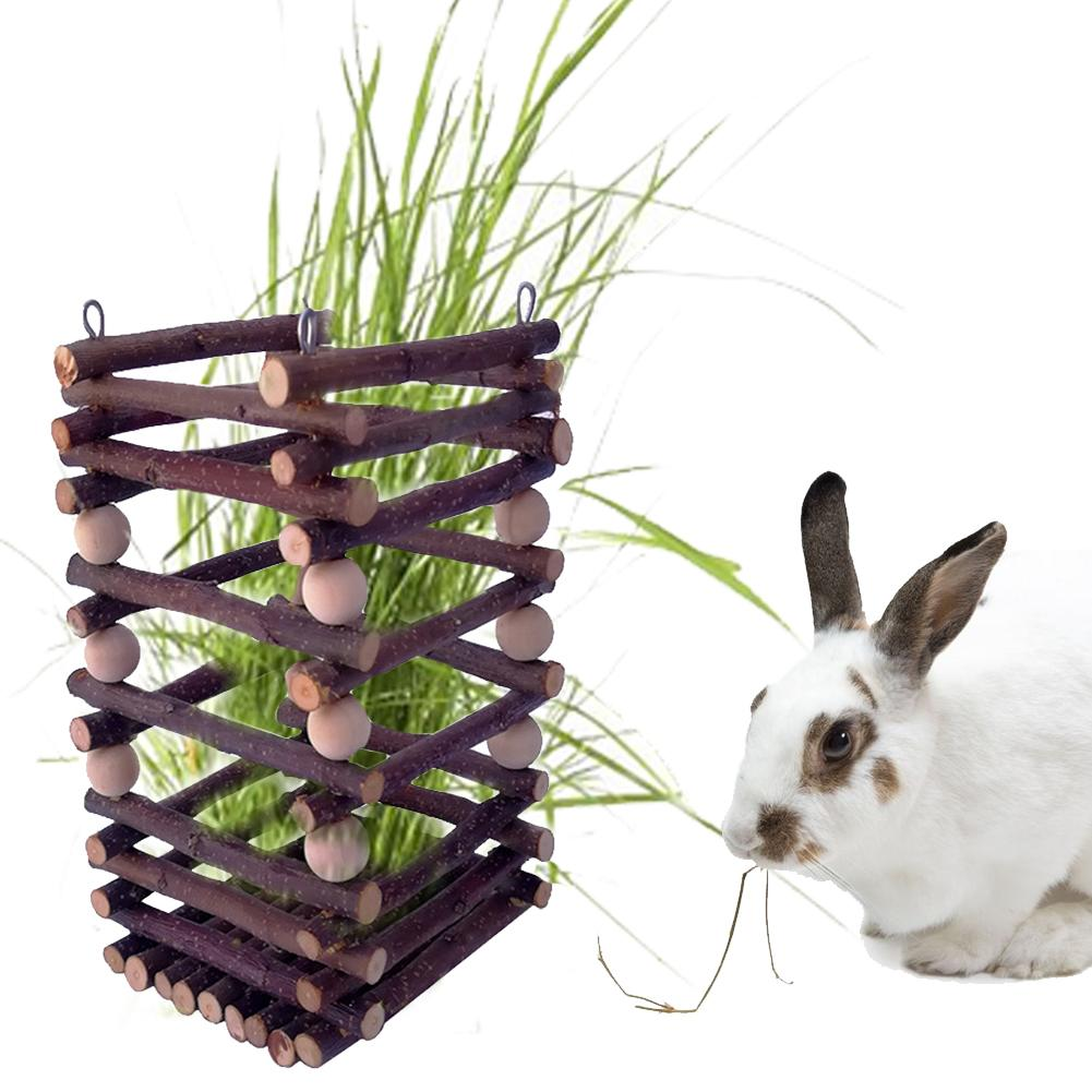 1 Pcs Wooden Hay Manger Grass Frame Safe And Durable Pet Toy Trough Feeder For Small Pets Rabbits Chinchilla Hamster Guinea Pigs