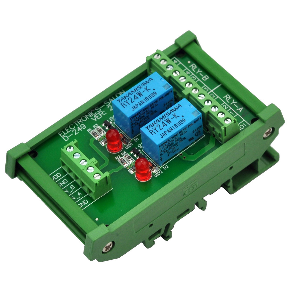 Electronics-Salon DIN Rail Mount 2 DPDT Signal Relay Interface Module, DC 24V Version.Electronics-Salon DIN Rail Mount 2 DPDT Signal Relay Interface Module, DC 24V Version.