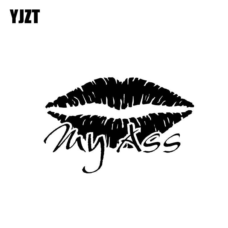 YJZT 12.3*8CM Hot Sexy Lip Kiss My Ass Silhoutte Popular Fashion Style Car Sticker Black/Silver Vinyl Car Decal C20-0894