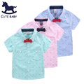 2016 Boys Shirt Kids Clothes Boys Children's Short-sleeved Shirt With bow tie fashion Clothing childrenTop Shirt for boys 2-10Y