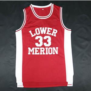 e87b60bfe2d1 Kobe High School Basketball Jersey Black White Red Bryant  33 Lower Merion