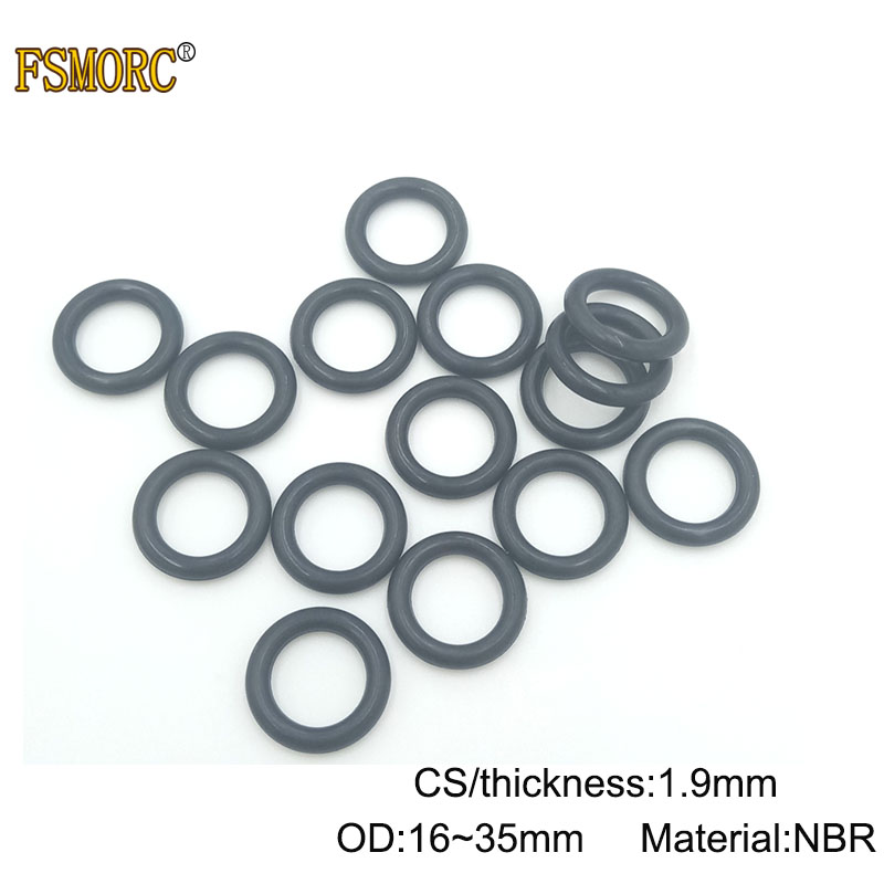 10pcs Heat Oil Resistant 1.9mm NBR Nitrile O-Ring Rubber Sealing Ring O.D 5-49mm