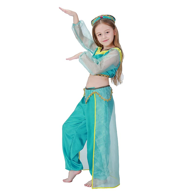 Novelty & Special Use Girls Costumes New Fashion Children`s Arabia Lamp Halloween Costume Fairy Tale Aladdin Costume Princess Jasmine Costume For Girls Kids Outfit 110-140cm