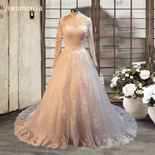 yiwumensa Sheer tulle Luxury Wedding Dress 2017 long Sleeves Applique beads ball gown Lace Vintage Wedding dresses Bridal Gowns