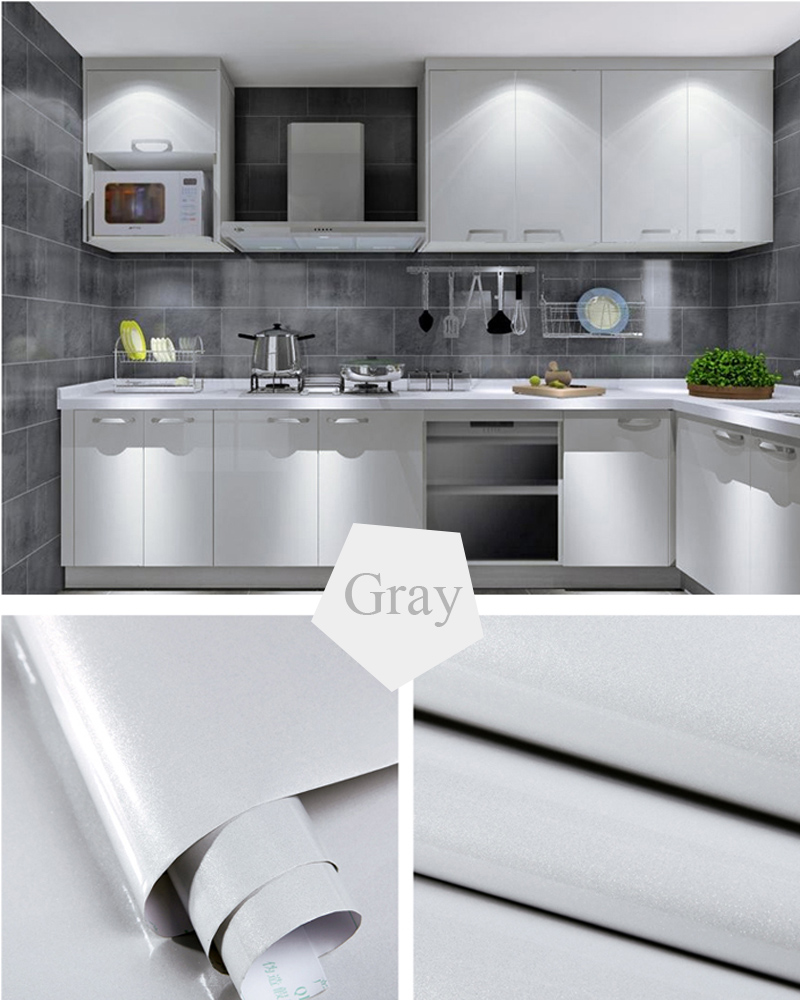 DIY waterproof vinyl Solid decorative film self adhesive wallpaper roll for kitchen furniture Paint Flash PVC stickers home