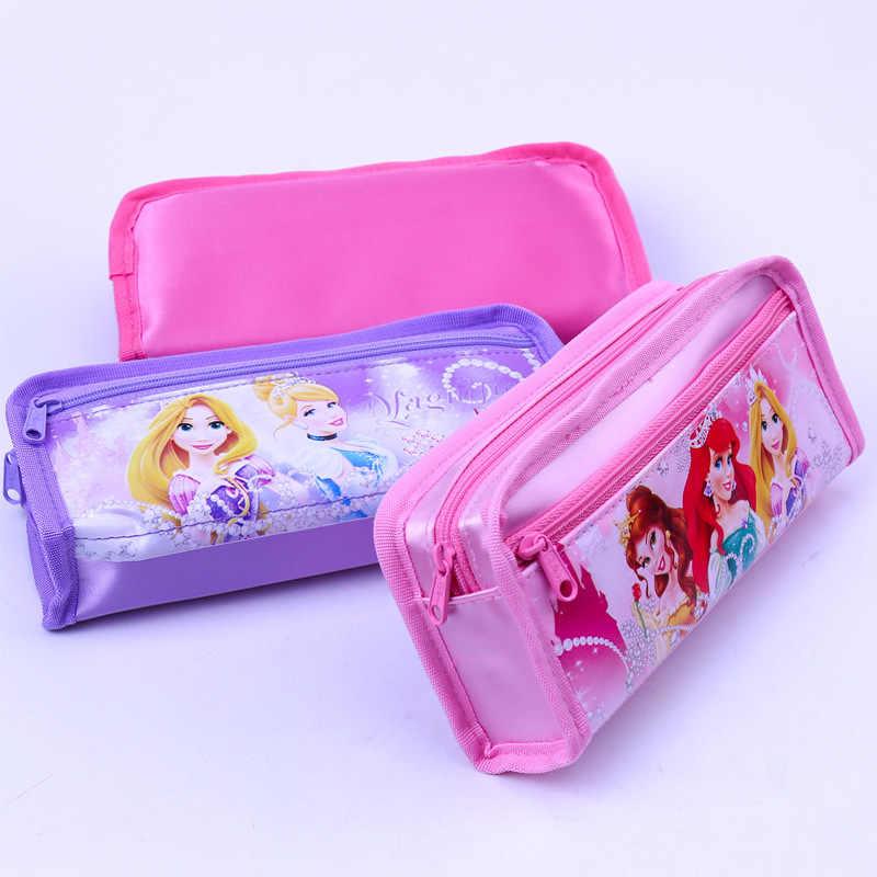 Disney Princess Pensil Tas Sekolah Dasar Korea Stationery Kotak Lembut Pena Kotak TK Alat Tulis Zipper Pensil Case