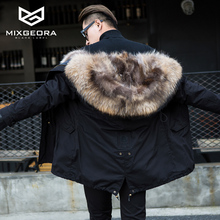 Winter Thick Fur Coat Slim Male Korean Male Thick Warm Fur With Raccoon Dog Fur collar Lovers women men Winter Jacket Fur Collar