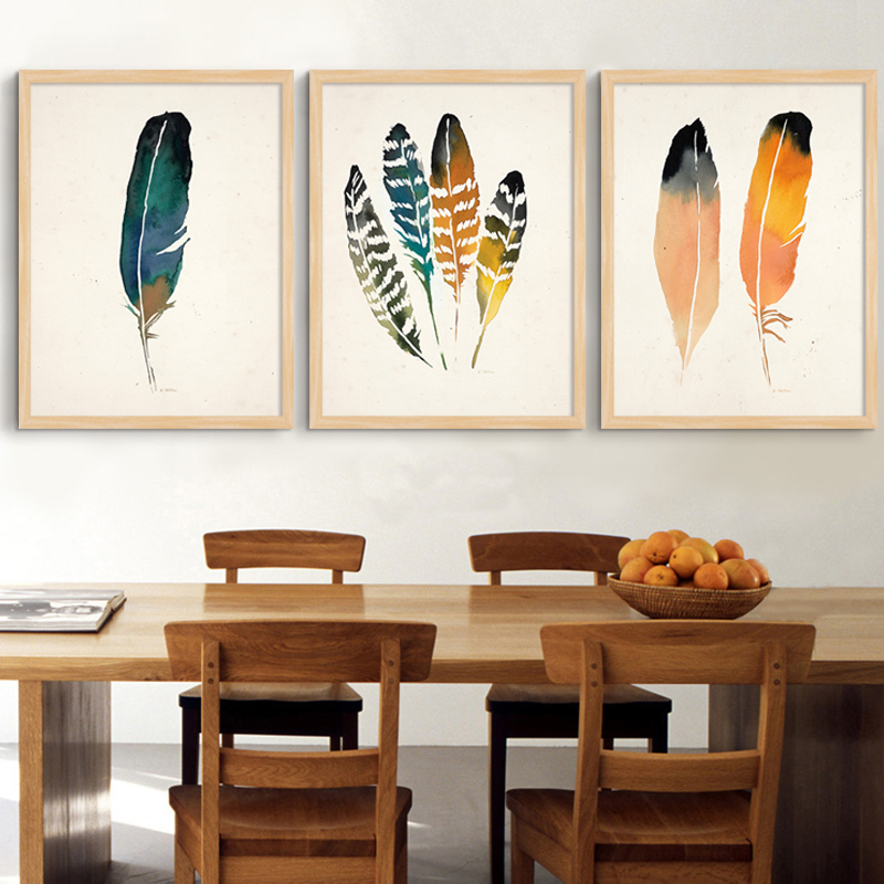 Modern Living Room Canvas Art Southwestern Abstract Native Feather Painting Vintage Poster And ...