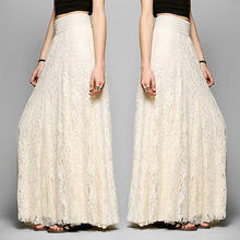 Women Double Layer Chiffon Pleated Retro Long Maxi Skirts Elastic High Waist Skirt UK(China)