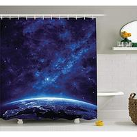 Vixm Space Earth at Night from Deep Atmosphere Vibrant Milky Way Lights Starfield Ecliptic Scene Fabric Shower Curtains