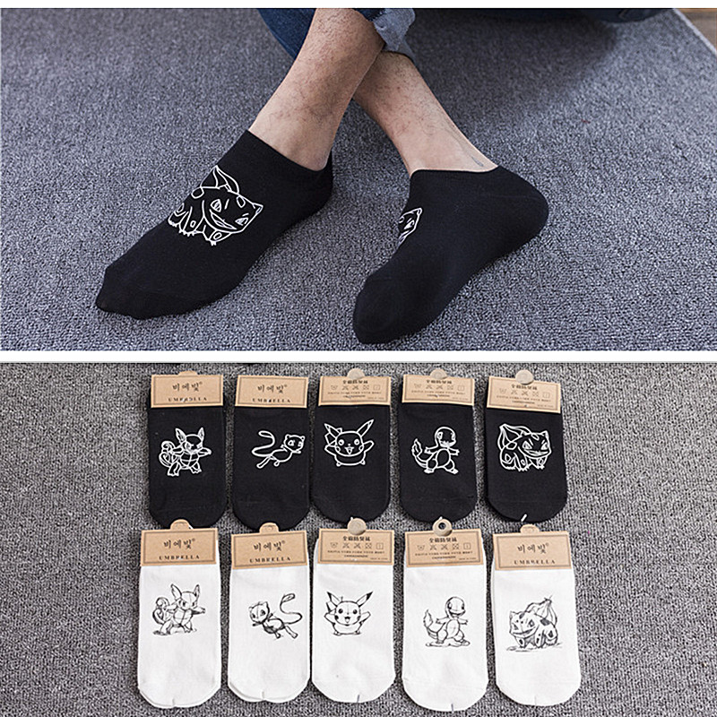 New fashion Pokemon ball unisex   socks   happy cotton ladies men cartoon   socks   comics Pikachu print cartoon prototype ankle   socks