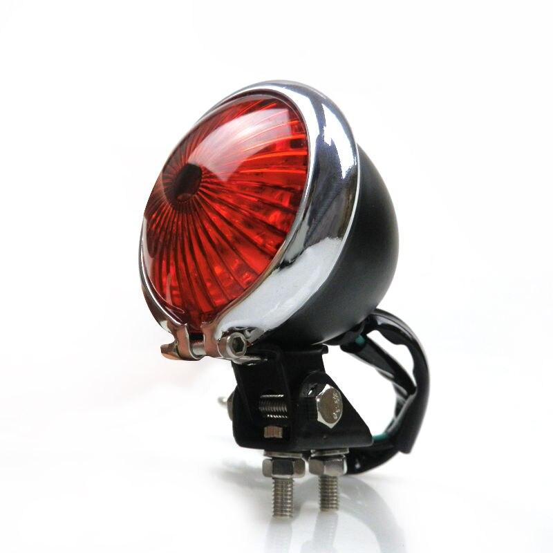 LJBKOALL Black Chrome LED Bates Style Stop Brake Tail light for Honda Harley Kawasaki Yamaha Suzuki Cafe Racer Bobber Custom