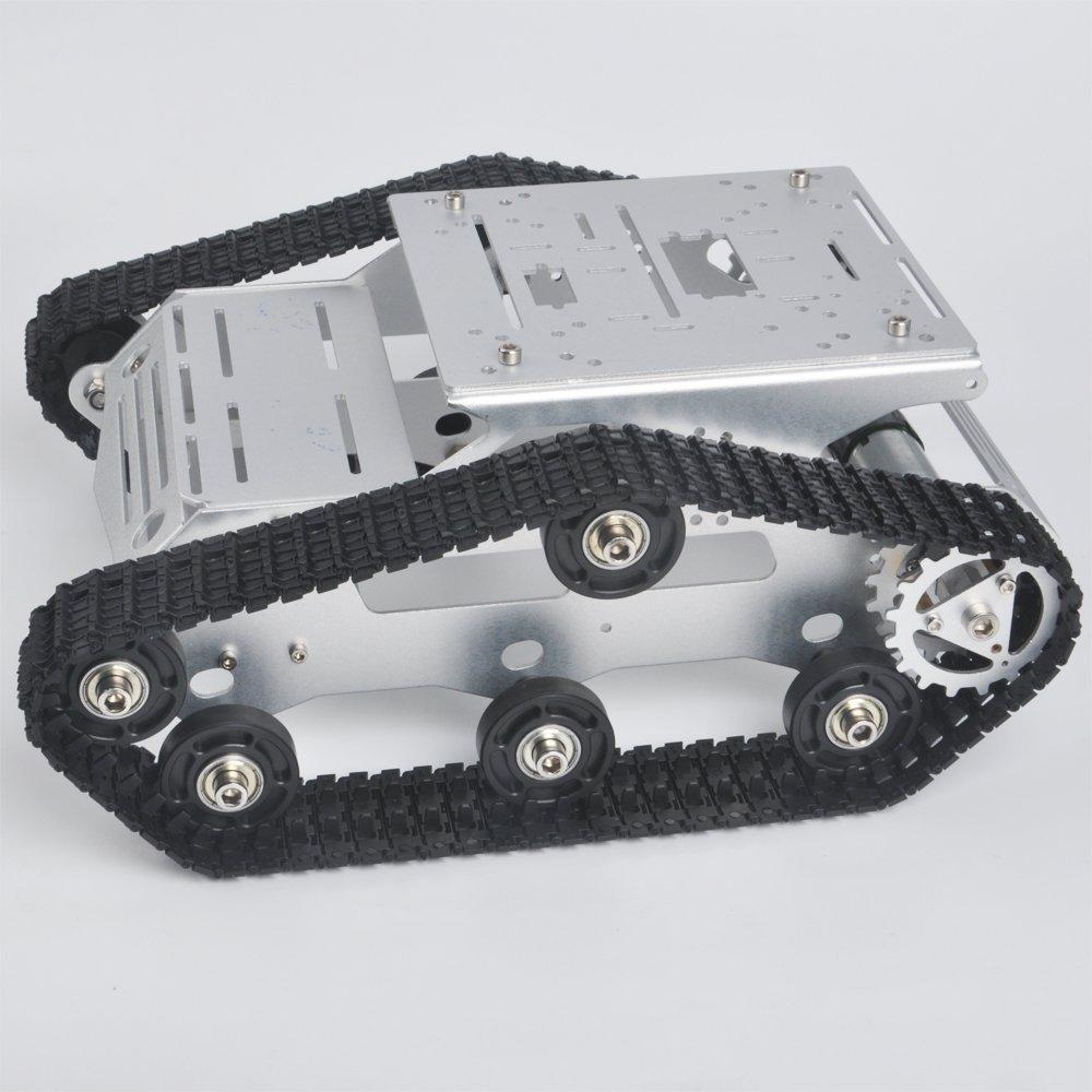 KOOKYE Robot voiture châssis Smart Tank plate-forme métal inox 2DW moteur 9 V pour Arduino/Raspberry Pi bricolage (TR300)