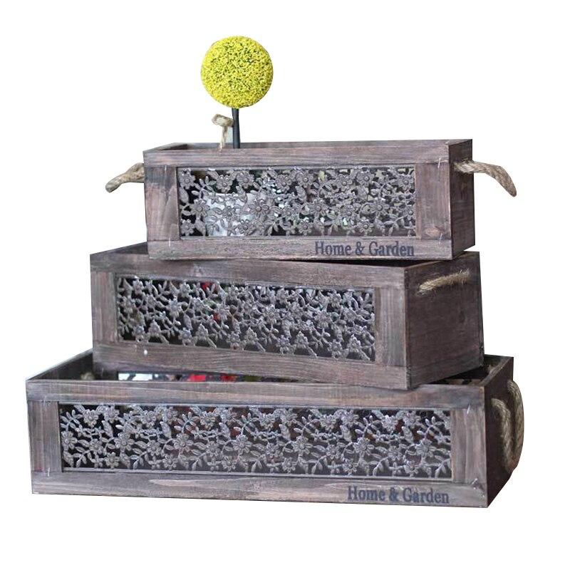 3 pièces/ensemble européenne Antique boîte de rangement en bois Vintage à la main support de pot de fleur boîte en bois maison bureau finition artisanat cadeaux